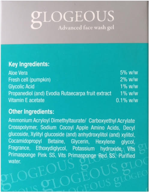 natural ingredients list of glogeous advanced face wash gel, my thought lane