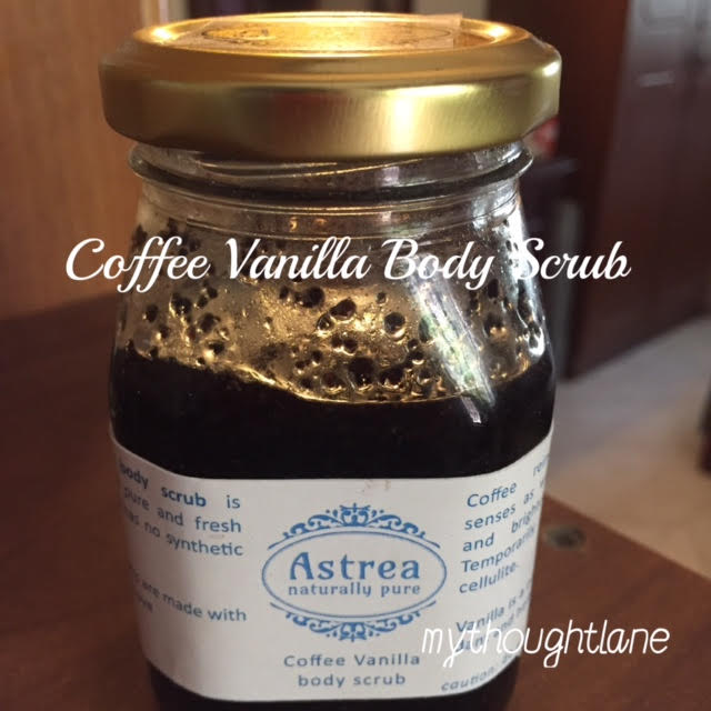 astrea coffee vanilla body scrub, my thought lane