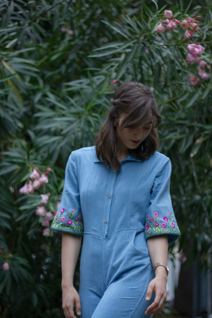 Fiori blue jumpsuit with embroidery on sleeves khadi Amortela, mythoughtlane
