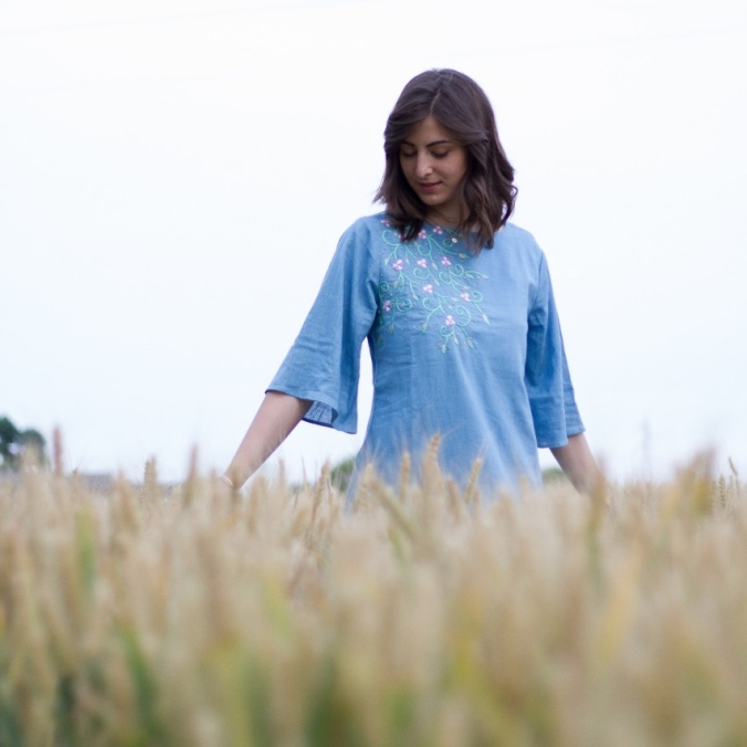 Fiori blue short top bell sleeves khadi resort wear at amortela, mythoughtlane