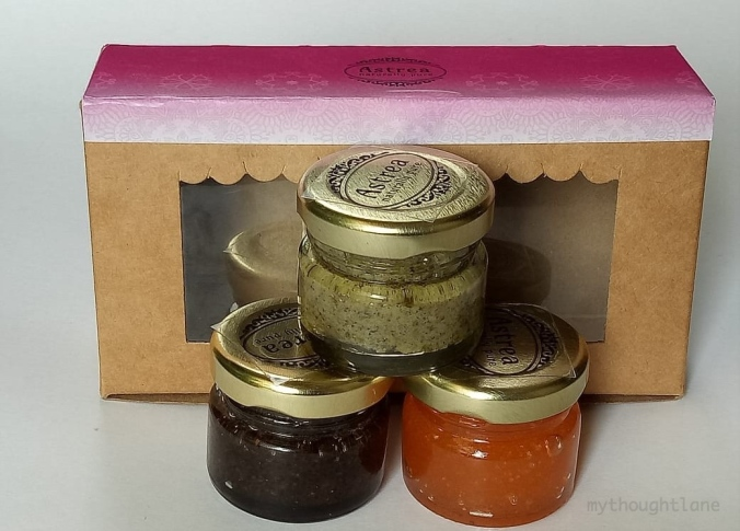 diwali gift hamper with three body scrubs from astrea